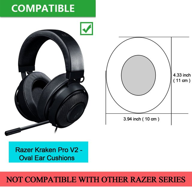 Replacement Earpads for Razer Kraken Pro V2 Gaming Headset - Foam Pad Soft Leather Ear Cushions 1 Pair Oval Earcups 1