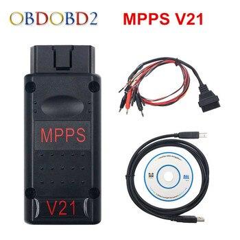 MPPS V21 caja de sintonización con Chip ECU para automóvil interfaz MPPS V16 para EDC15 EDC16 EDC17 MPPS 16 Multi-idioma puede Flasher reasignar Cable envío gratis