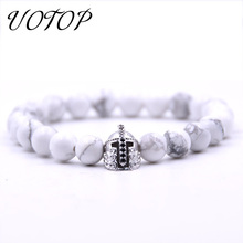 UOTOP 2019 New Silver Color Roman Knight Spartan Warrior Gladiator Helmet Bracelet Women Men Natural Rock Lava Stone Bracelets цена в Москве и Питере