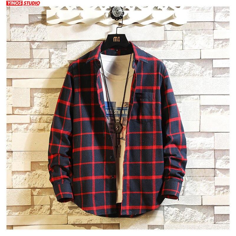 Dropshipping Men Streetwear Striped Shirts Male Fashion Shirts 2019 Mens Japanese Slim Casual Shirts