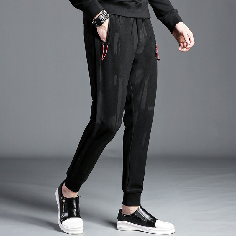 Autumn And Winter Casual Pants Slim Fit Korean-style Casual Dark Stripes Skinny Pants Fashion Man Harem Pants K9903 [New Style P