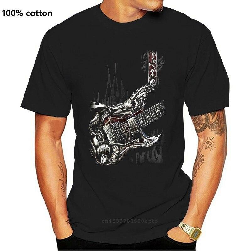 Спиральная прямая воздушная гитара футболка череп тату рок металлическая гитара музыкальный Топ