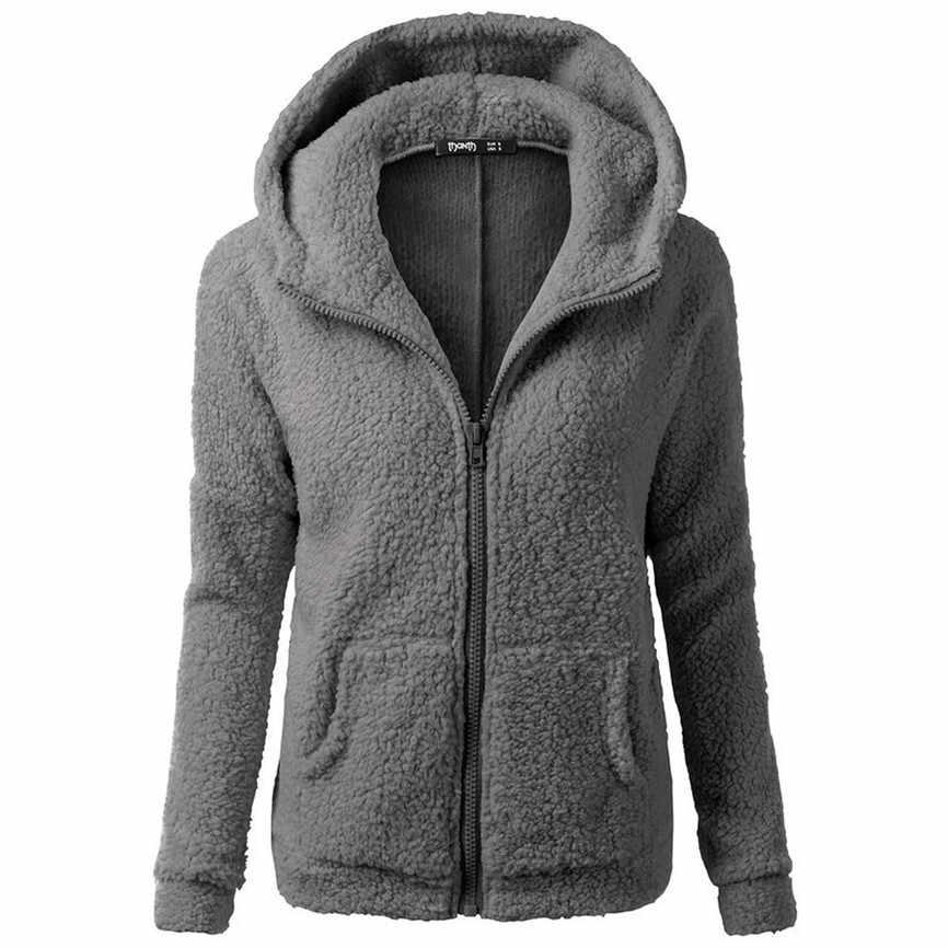 Abrigos Mujer Invierno 2019 여성 후드 스웨터 코트 패션 겨울 따뜻한 양모 지퍼 코트 코 튼 코트 Outwear 여성 Mujer