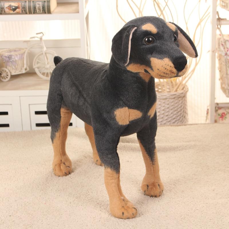Детская плюшевая игрушка, мягкая игрушка, симуляция, стоящая черная собака, мягкая игрушка для животных, Супер реалистичная собака, детская ...