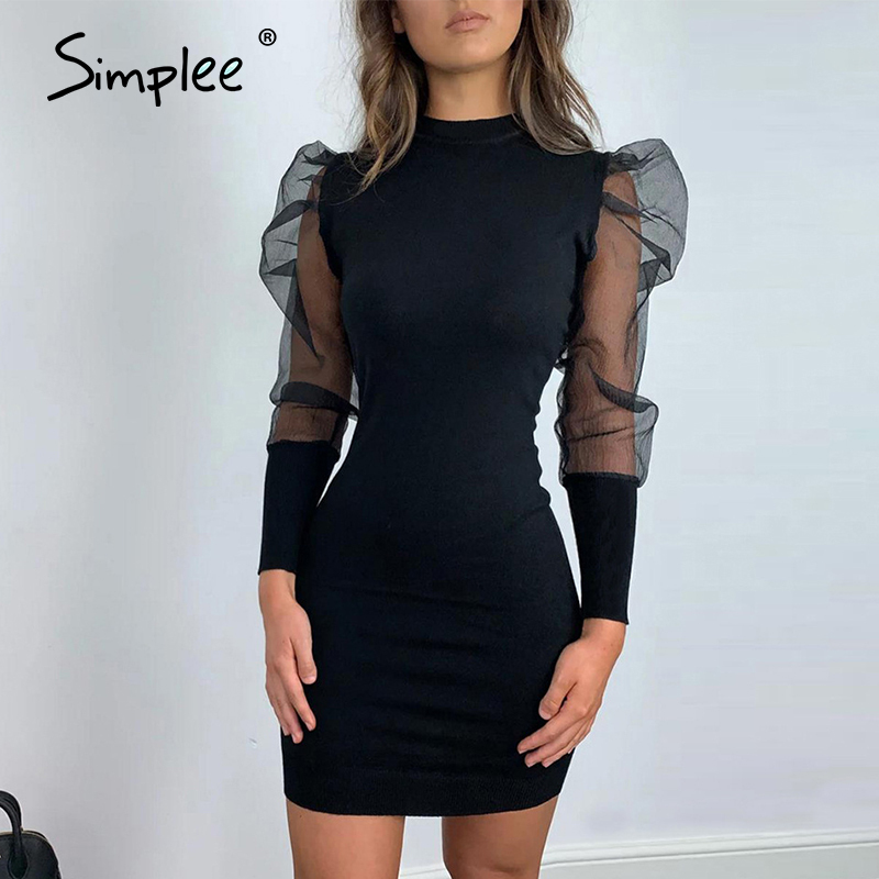 Simplee Women Hollow Out Party Dress Puff Sleeve Solid Plus Size Sheath Bodycon Dress Elegant Night Club O Neck Mini Dress 2020
