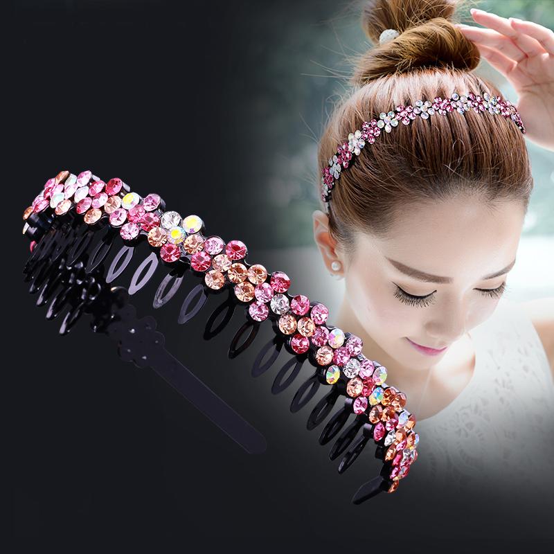 Unisex Alice Hairband Bezel Headband Men Women Sports Hair Band Hoop Top Metal Double Bangs Flower Rhinestone Hair Accessories