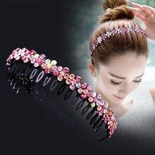 Alice – bandeau à Double frange en métal pour hommes et femmes, accessoires de cheveux unisexe, bandeau de sport, cerceau, Top, Double frange, fleur en strass