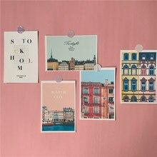 pink retro waterside town…