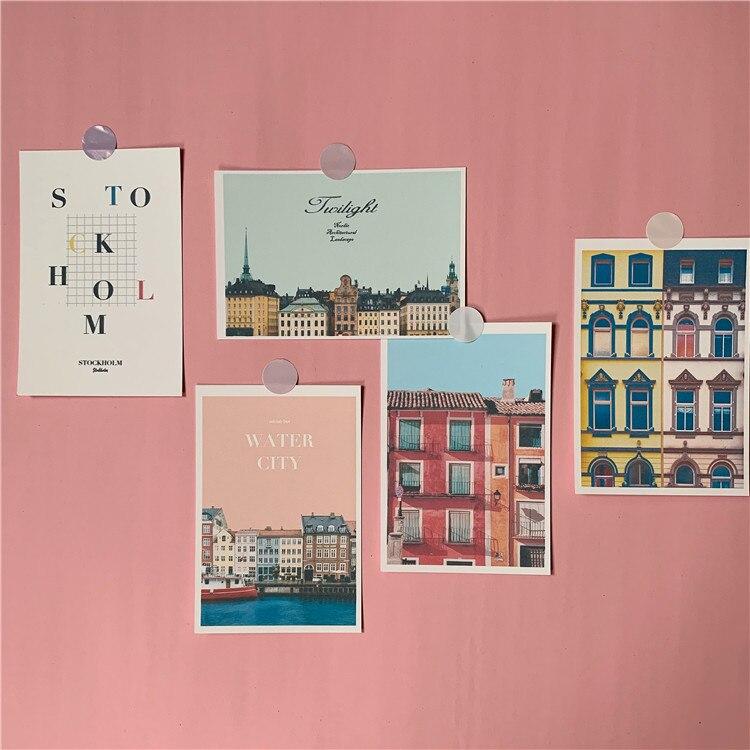 rose-retro-waterside-ville-maison-decoration-carte-5-feuilles-photographie-accessoires-petite-affiche-bricolage-autocollant-mural-carte-postale-cartes-de-voeux