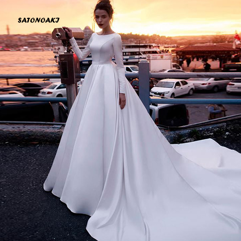 SATONOAKI  Boho Wedding Dress Sleeves A Line Vintage Princess Informal Wedding Gown Elegant Beach Bride Dress 2019