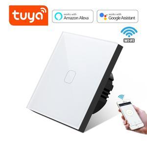 Tuya Smart Life WiFi Touch Switch 1/2/3 Gang 1 Way Smart WiFi Wall Light Voice Control for Google Home Amazon Alexa EU Standard