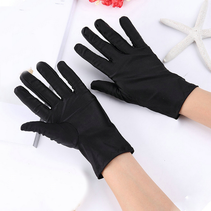 1 Pair Solid Color Spandex Performance Gloves Sunscreen High Elasticity Etiquette Thin Short Gloves Women Men Mittens Guantes
