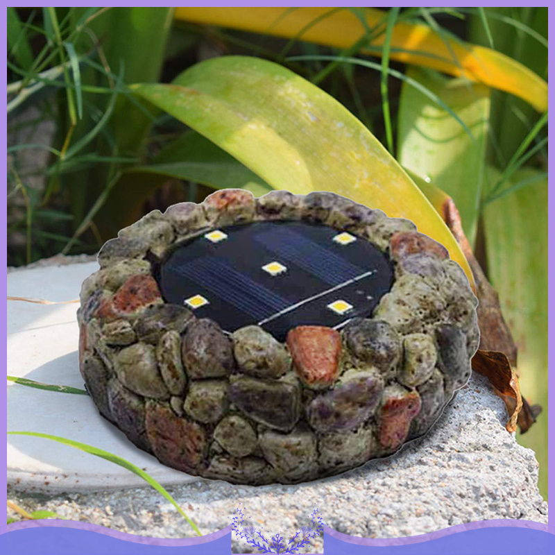 5 LED Solar Cobblestone Light Underground Light Resin Lawn Lamp Outdoor Courtyard Buried Simulation Stone Cobblestone Lights