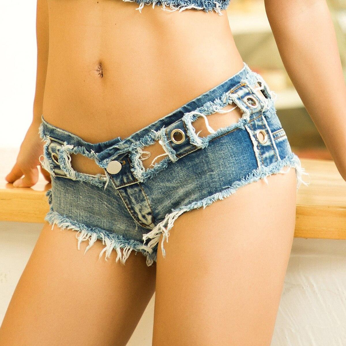 1pcs Women's Super Denim Shorts 2020 Summer Denim Cotton Splicing Broken Hole Shorts Ladies Skinny Sexy Club Super Short Jeans