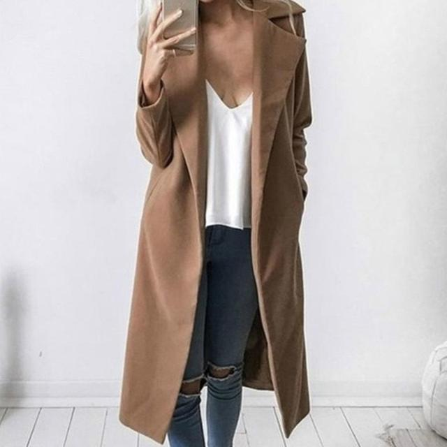 Winter Women Trench Coat Casual Lapel Collar Open Stitch Woolen  Female Coat Fashion Warm Pocket Solid Plus Size Long Outwear 1