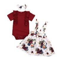 Комплект одежды для маленьких девочек футболка с короткими рукавами юбка на подтяжках повязка на голову, 3 предмета, летняя одежда для малыш...