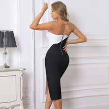 Ocstrade Bandage Dress 2021 New Arrival Strapless Bandage Dress Bodycon Black and White Summer Women Sexy Night Club Party Dress