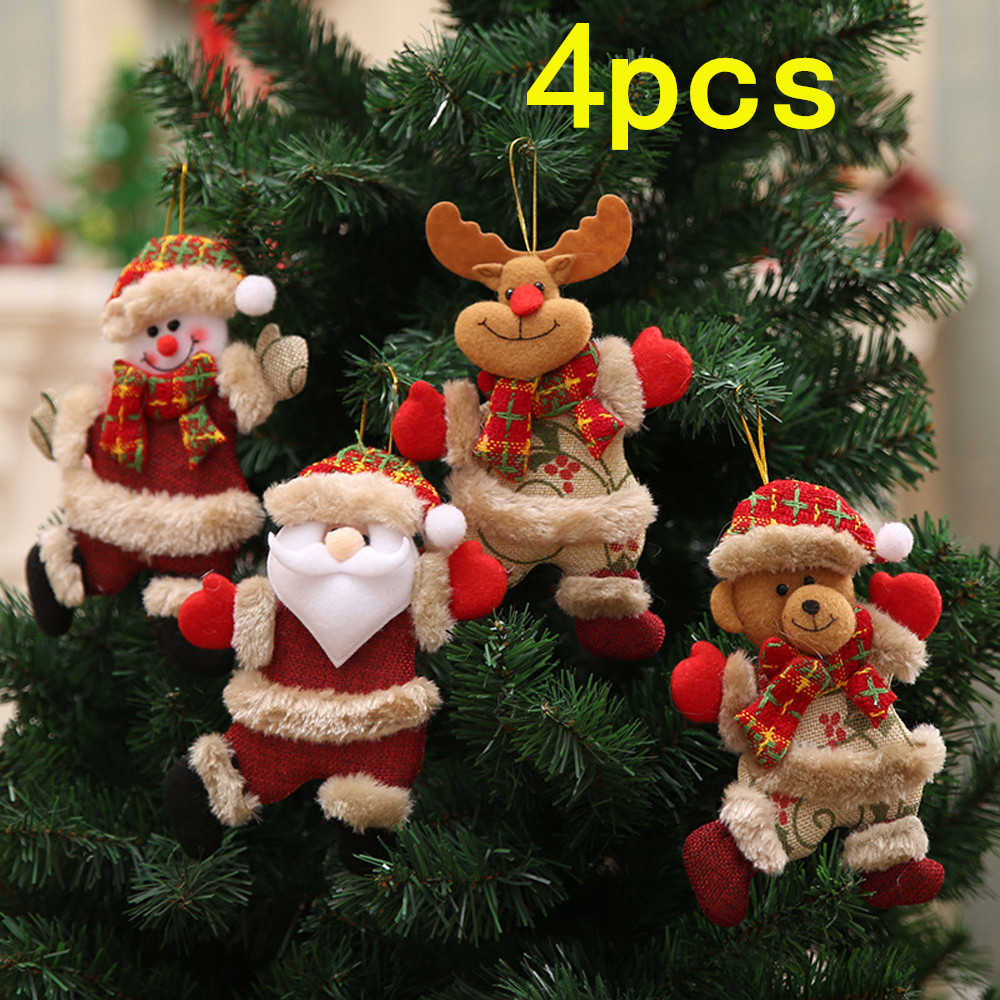 4 stuks Kerst Hang Decoratie Kerstboom Ornamenten Cadeau Kerstman Sneeuwpop Rendier Speelgoed Pop Kerst DIY Hang Decoraties