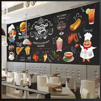 Custom wallpaper HD hand-painted western restaurant fast food restaurant hamburger background wall цена 2017
