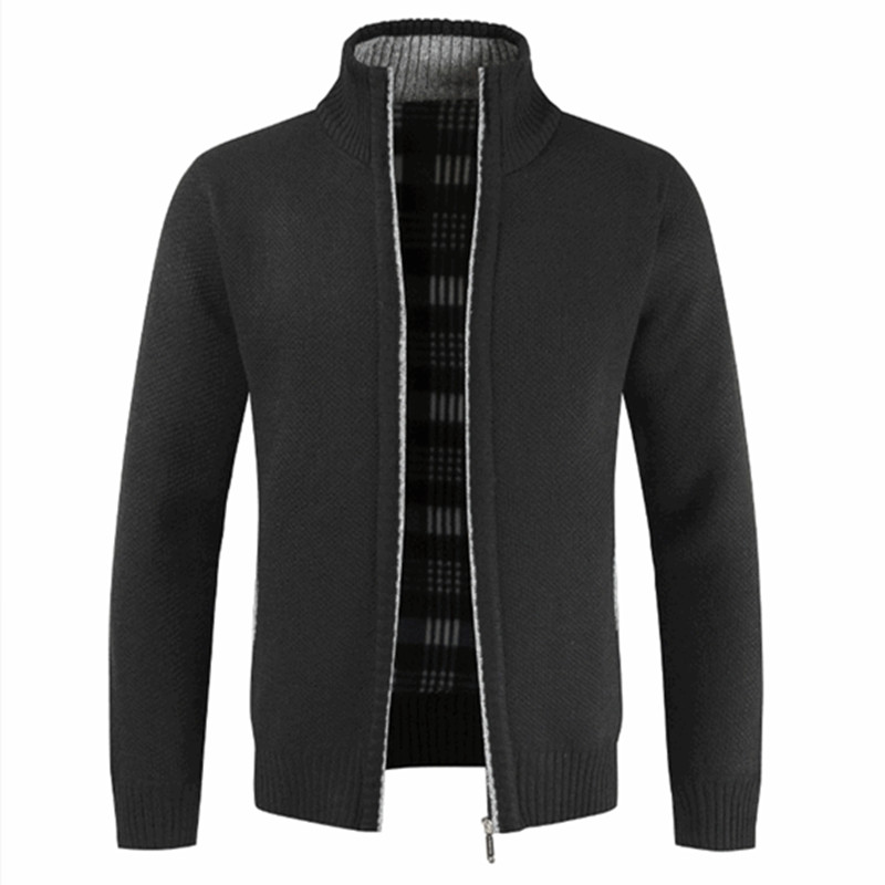 Men's Autumn Winter Warm Thick Streetwear Zipper Sweater Cotton Coat Stand Collar Winter Cardigan Jacket Slim Cold Sportswear