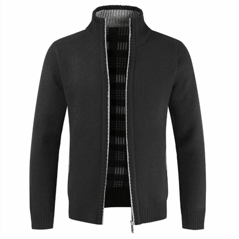 Men's Autumn Winter Warm Thick Streetwear Zipper Sweater Cotton Coat Stand Collar Winter Cardigan Jacket Slim Cold Sportswear