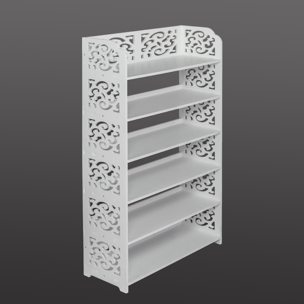 Shoe Rack Wood-plastic Board Six Tiers Carved Shoe Rack Storage Cabinet Living Room Furniture White B