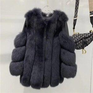 Image 3 - New Real Fox Fur Coats Women Genuine Fox Fur Thick Warm Long Jacket Fashion Winter Ladies Real Fur Overcoat Luxury