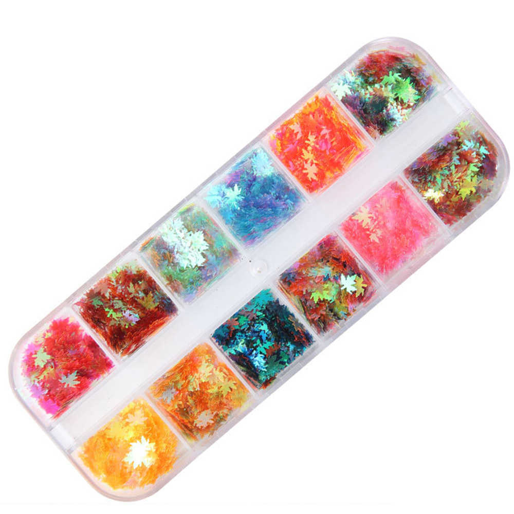 12 กริด/ชุด Pigment เล็บ Glitter Paillette ตกแต่งศิลปะรอบ Flake น้ำตาล Full ความงาม Shinning ความงาม Flakes Moon