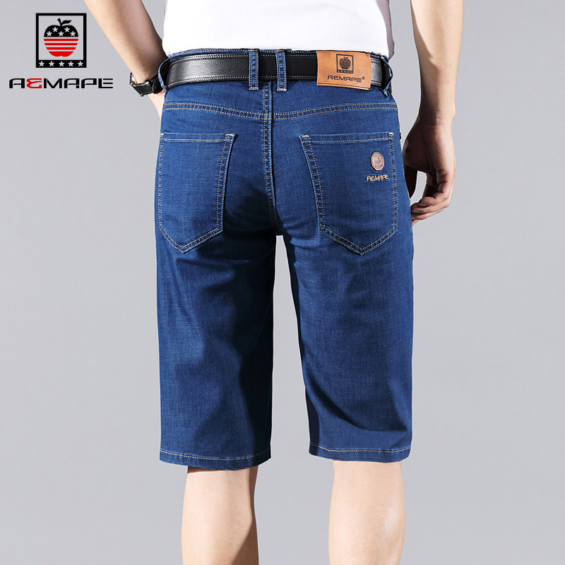 Mape Us IPhone Denim Shorts Men's Summer Thin Section Straight-Cut Loose-Fit Ultra-stretch Elasticity Shorts Men's Breeches