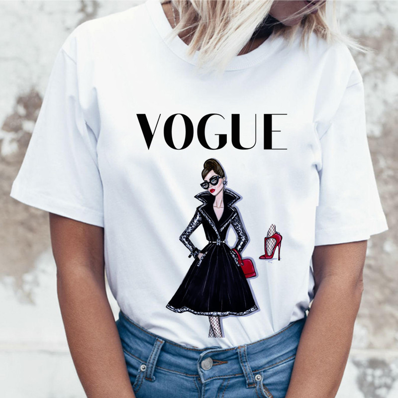 Summer Vogue Girl Print Women T Shirt Casual Short Sleeve O-neck T-Shirt Fashion White Tee Shirt Hipster Cool Ladies Tee