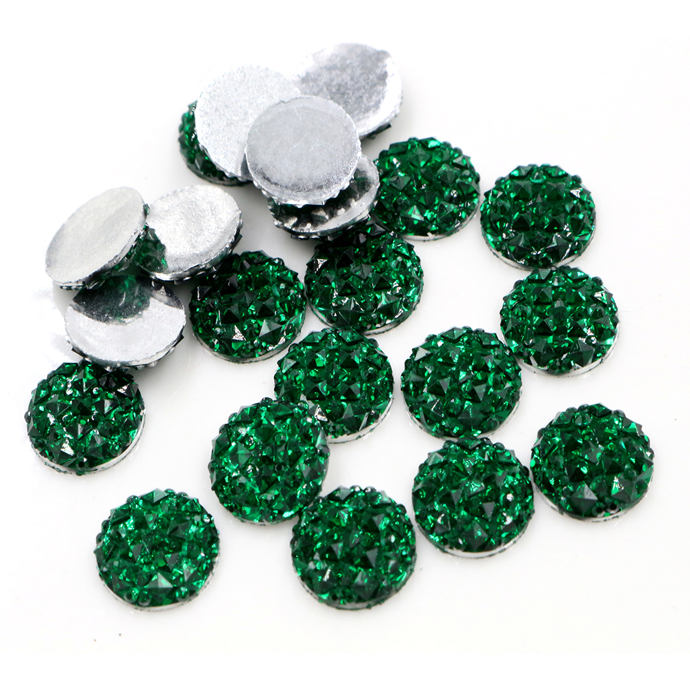 New Fashion 40pcs 12mm Green Color Flat Back Resin Cabochons Cameo  G7-35
