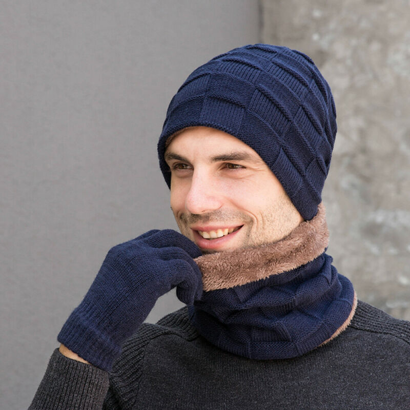 Men's Womens Scarf Winter Warm 3 Piece Set Knitted Beanie Hat Scarf Touchscreen Gloves /BY