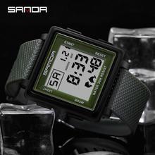SANDA Luxury Men Digital Watch Big Square Dia Sports