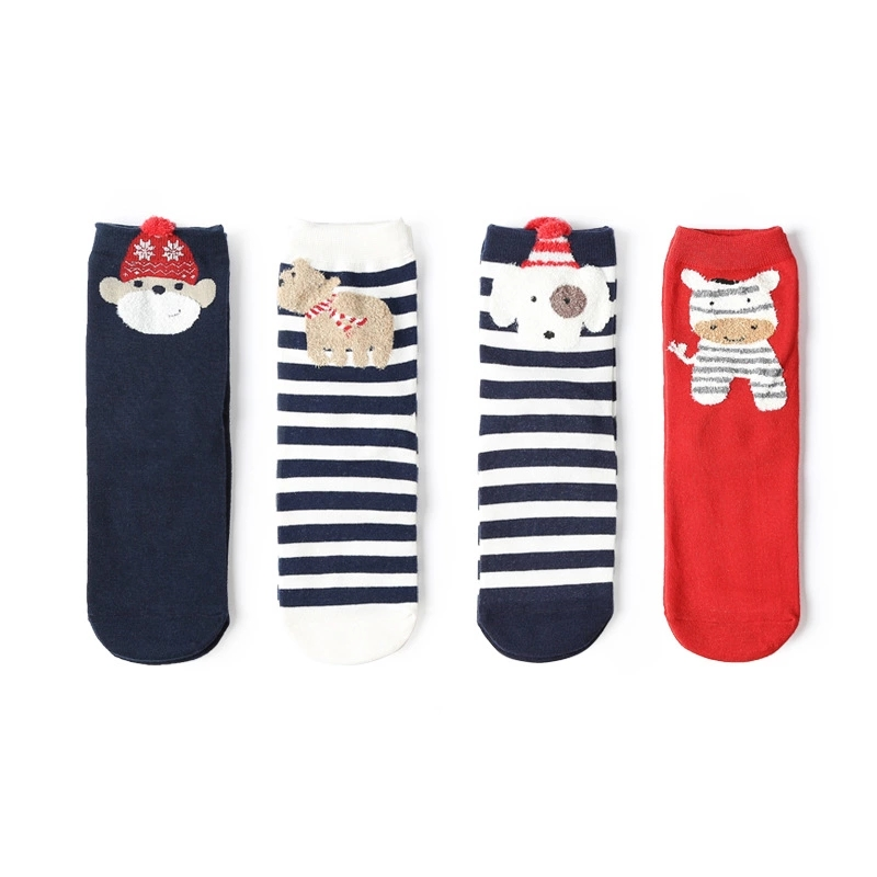 Christmas Explosions Christmas Cute Cartoon Dolls Elk Cartoon Home Floor Socks New Four-piece Women's Home Cotton Socks