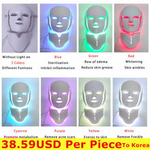 NEWEST 3/7 Colors Photon Electric LED Facial Mask with Neck Skin Rejuvenation Anti Acne Wrinkle Beauty Treatment Salon Home Use(China)