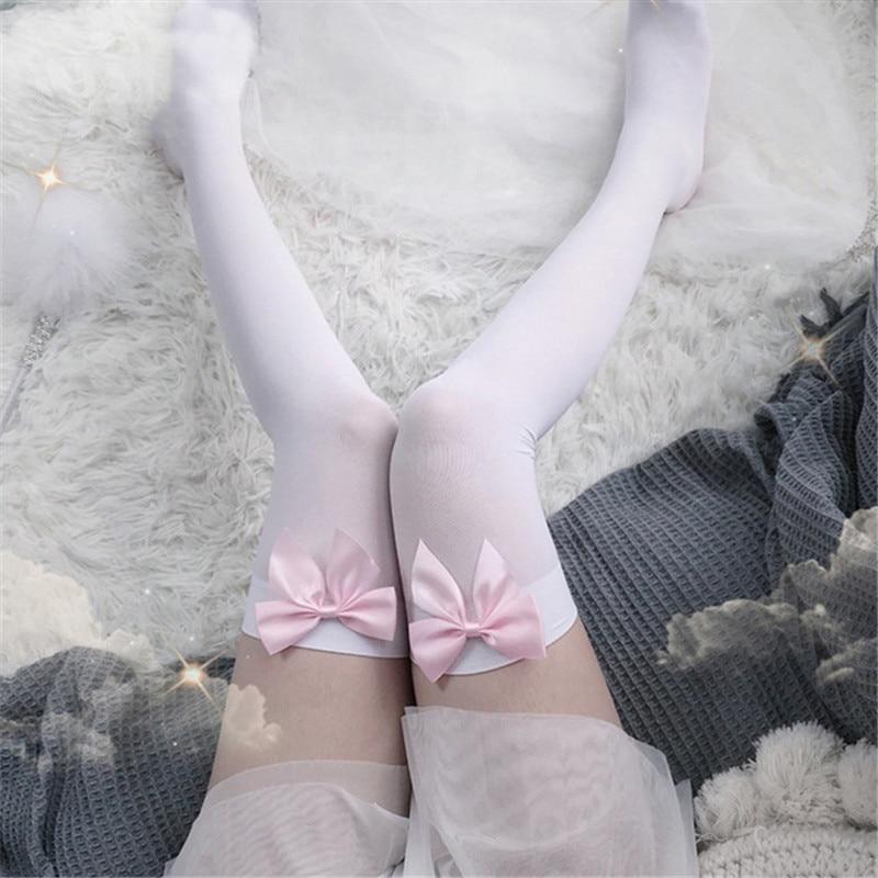 Сексуальные женские Чулочные изделия с розовым бантом, высокие шелковые чулки до бедра, милые женские чулки с бантом, колготки, студенчески...