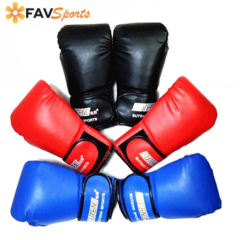 Men Women PU Leather Fighting MMA Boxing Gloves Sanda/Karate/Muay Thai Protector Sports Gloves 1 Pair Black Red Blue Gloves