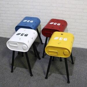 Taburete de estilo industrial de barril de gasolina Retro, silla de café, nostálgica, ornamentos antiguos, taburete de tanque de combustible de hierro forjado LB40815