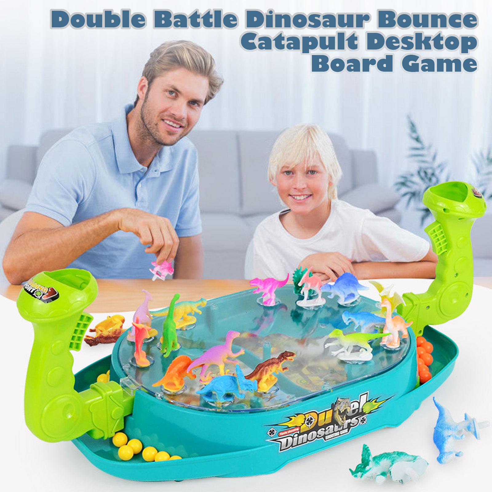 Engraçado duplo batalha dinossauro bounce catapulta desktop jogo de tabuleiro pai-criança brinquedo de interação para crianças festa de família