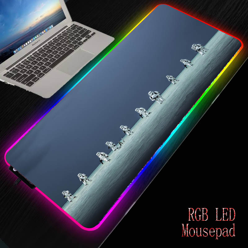 Mairuige Customize Star War RGB Mouse Pad Large Gaming Mouse Pad Gamer Led Computer Mousepad with Backlight Keyboard Desk Mat 1