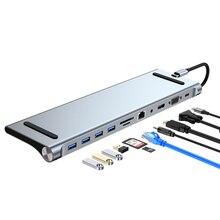 Type C Scaffold Docking Station Hub 11 12 in 1 Adapter MST Dual Display screen HDMI VGA PD lenovo Apple MacBook Pro laptop Mac