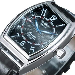 Image 1 - זוכה הרשמי מכאני שעון חבית כיכר לבן שחור לוח שנה רצועת עור יוניסקס כל משחק קלאסי עסקים מקרית שמלה