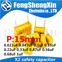10 sztuk X2 kondensator bezpieczeństwa 15mm 275VAC 0.022UF 0.047UF 0.068UF 0.1UF 0.15UF 0.22UF 0.33UF 0.47UF 0.68UF 1UF folia polipropylenowa