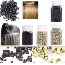 Для женщин микро кольца 4*3 мм 200/500 шт потребительских упаковок для микро Обжимные бусины, волосы на микро-капсуле силиконовые кольца/ссылки/бусины для пряди человеческих волос для Extensions3 Цвета