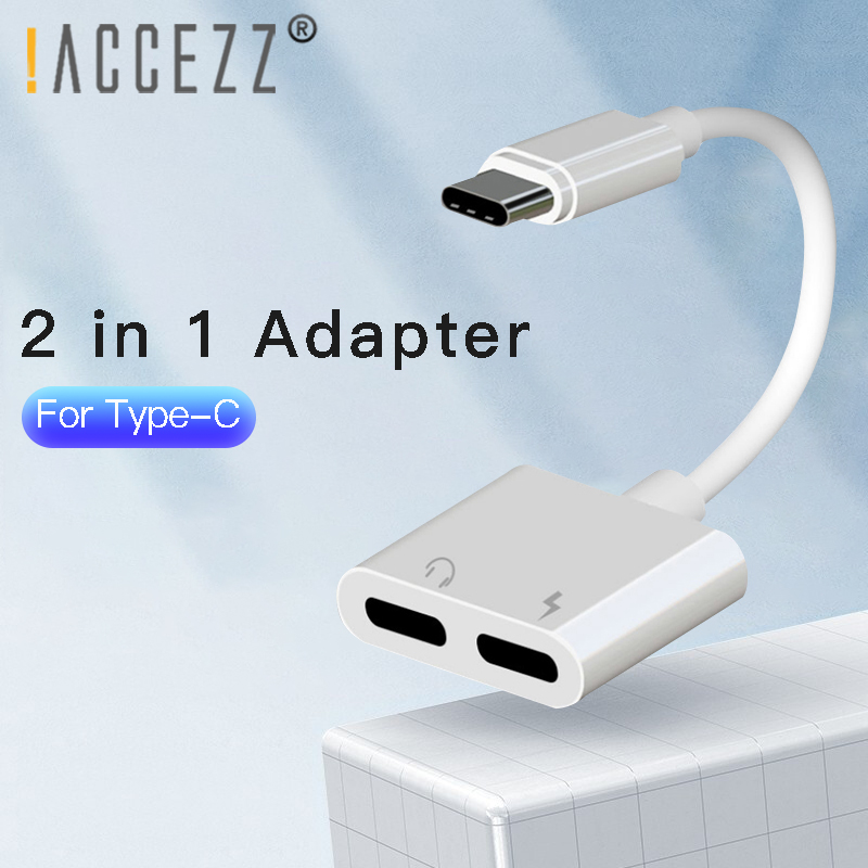 !ACCEZZ DAC USB Type C Fast Charging Adapter For Xiaomi Huawei 3.5mm Jack Earphone Call Audio Aux Connector Dual Type-C Adapter