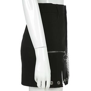Image 4 - Sweetown czarna jeansowa spódniczka w stylu Punk Streetwear metalowy łańcuszek Patchwork spódnice z wysokim stanem damska Elelet Zipper Split spódnica z linii