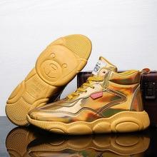 2019 Thương Hiệu Thiết Kế Giày Cho Nam Conmfortable Cao Hàng Đầu Ngoài Trời Huấn Luyện Viên Người Vàng Bạc Giỏ Giày Zapatos Hombre