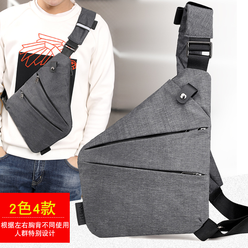 Digital Storage Gun Pack Men Canvas Chest Bag Shoulder Sports Waist Pack Multi-functional Body Hugging Theft
