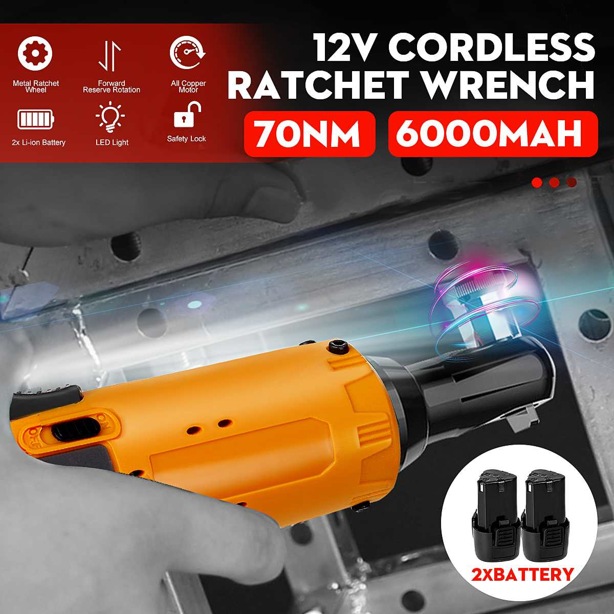 12V 3/8'' 70Nm Cordless Ratchet Wrench Cordless LED Ratchet Right Angle Electric Wrench Rechargeable Power Tool + 2Pcs Battery