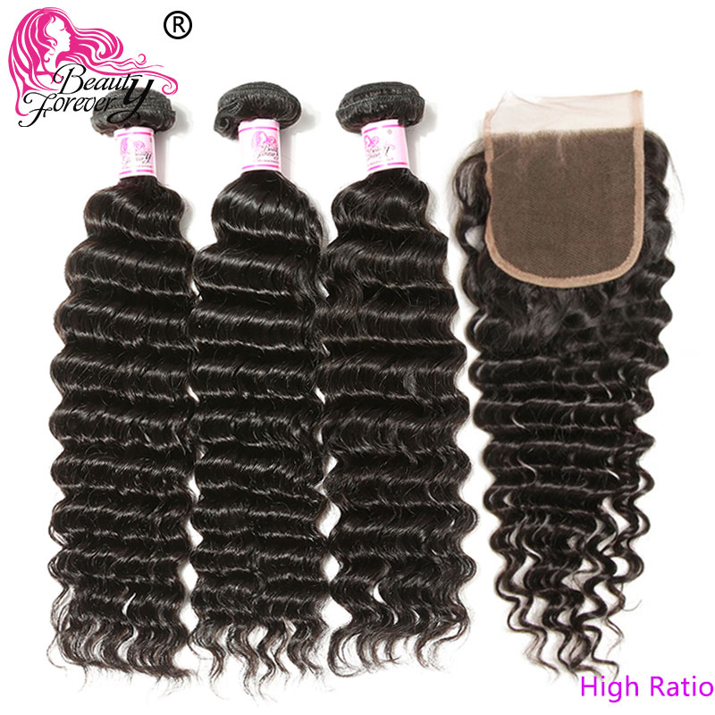 Красота навсегда бразильские волосы глубокая волна пряди с закрытием свободная часть/средняя часть 100% Remy человеческие волосы ткет высокое соотношение-in 3/4 пучка на сетке from Пряди и парики для волос on AliExpress